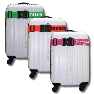 kofferriemen diverse kleuren met naam Falco, Ruben, Roza