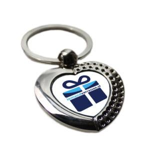 Sleutelhanger zilver hart bedrukt met logo