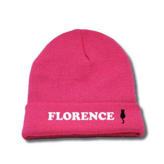 donkerroze muts met naam Florence